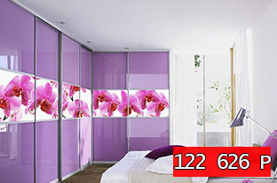 Система из 2 гардеробных с 6 дверями, отделанными крашеным стеклом и вставками с полноцветной фотопечатью